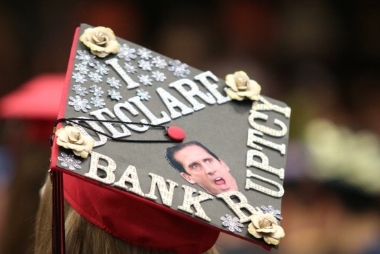 """grad cap decorated to say """"I declare bankruptcy"""" a quote from Michael Scott"""