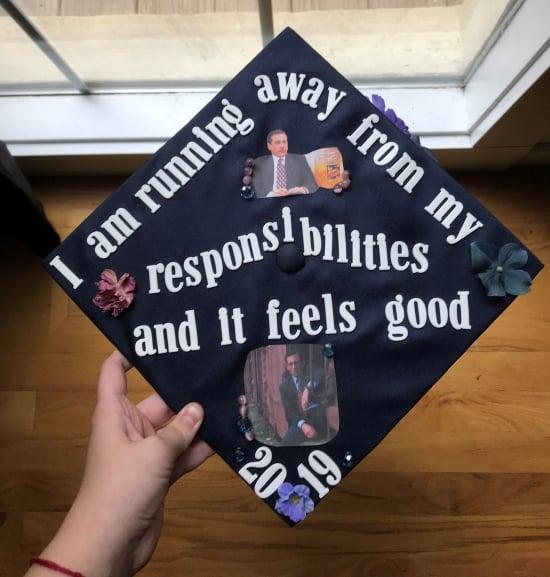 michael gary scott the office quote on high school graduation cap