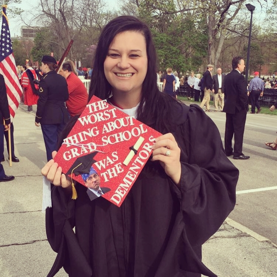 red grad cap decorated with funny the office saying