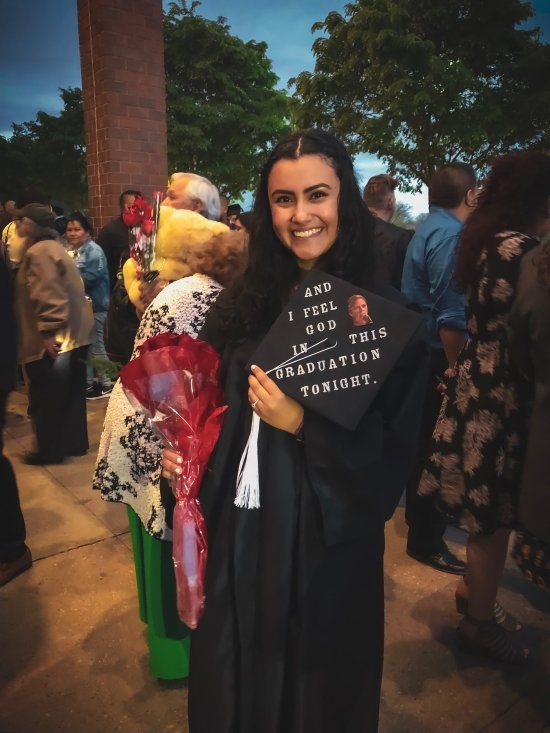 """I feel in this graduation tonight"" decorated grad cap"
