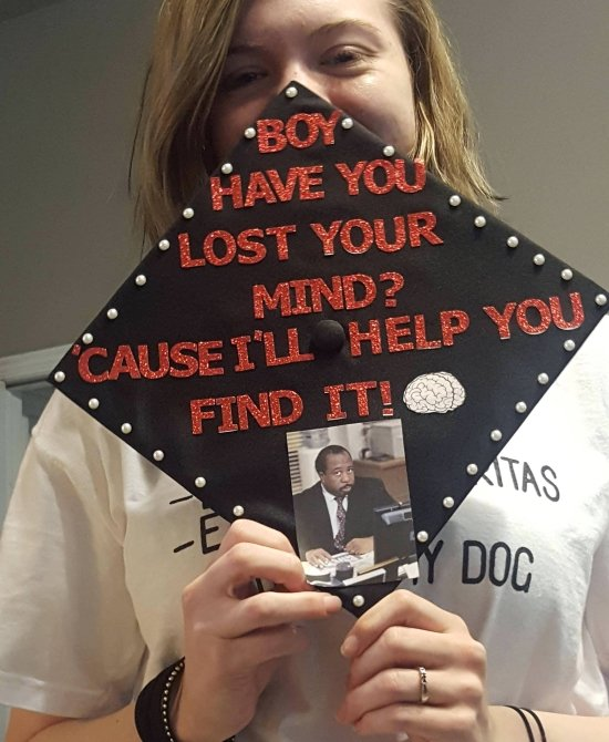 Stanley quote from the Office on psychology major grad cap