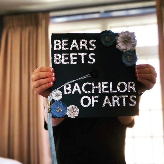 bears, beets, bachelor of arts the office quote on graduation cap