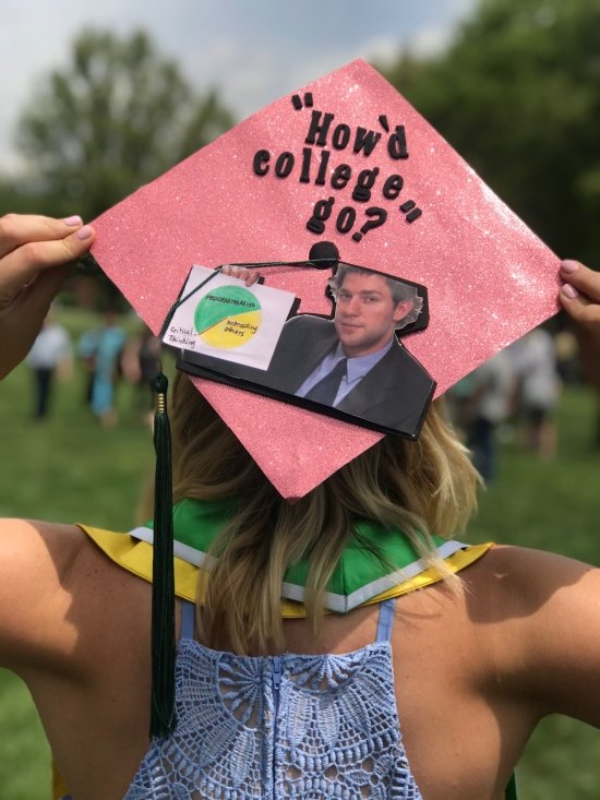"""red grad cap with jim halpert and pie chart that reads """"how'd college go?"""""""
