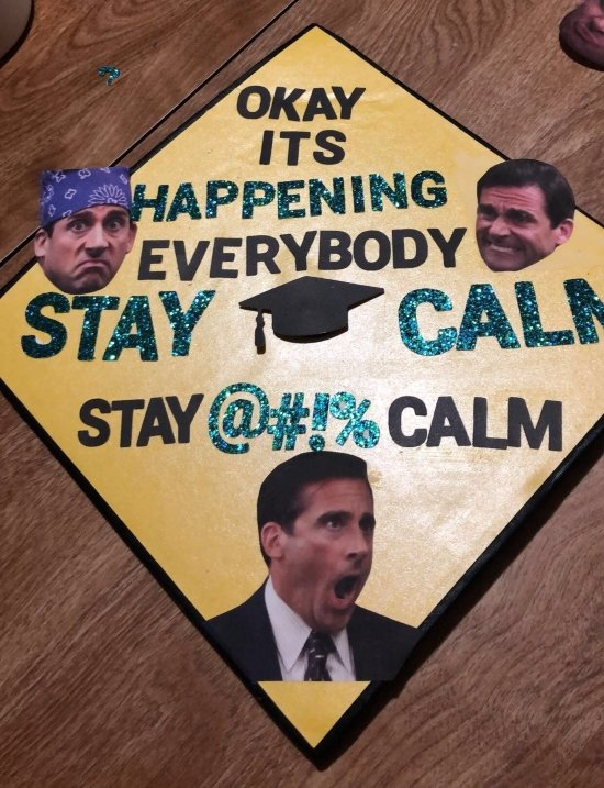 college graduation cap with the office quote