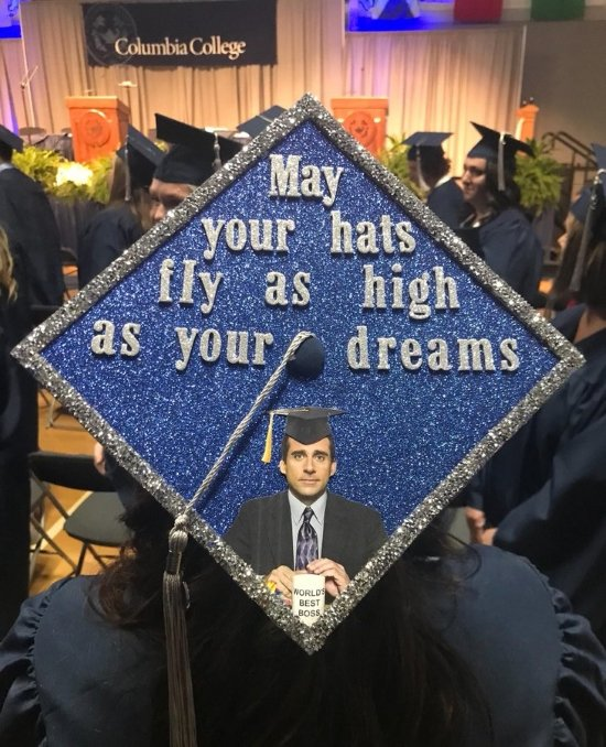 graduation cap decorated with a quote from Michael Scott