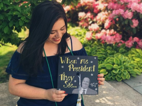 """""""when me president they see..."""" Kevin from the Office graduation cap quote"""