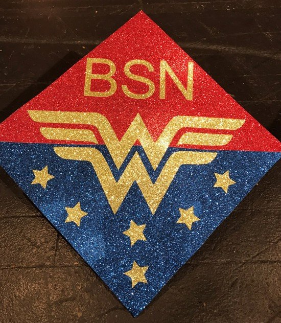 wonder woman BSN grad cap design