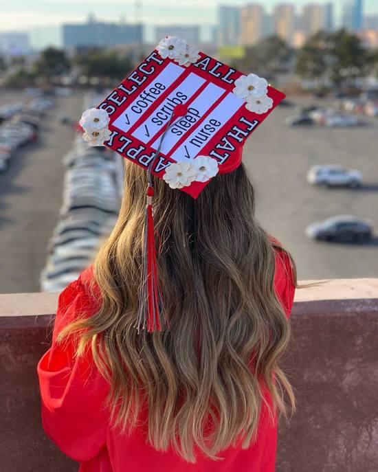 select all that apply nursing grad cap decoration