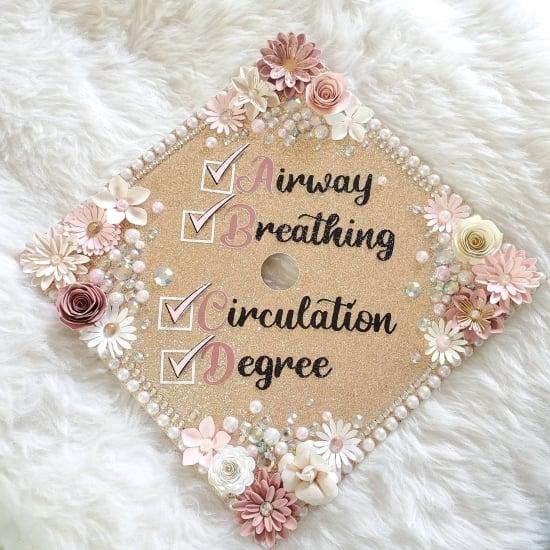 airway, breathing, circulation, degree check ER nurse cap descoration idea