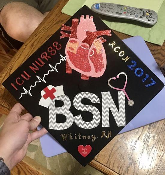 ICU nurse BSN graduation cap design with anatomical heart