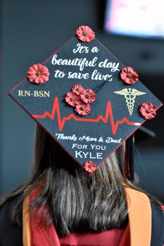 it's a beautiful day to save lives RN-BSN thank you mom & dad graduation hat decoration