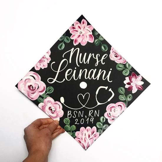 Nurse decorated mortar board with flowers for BSN RN