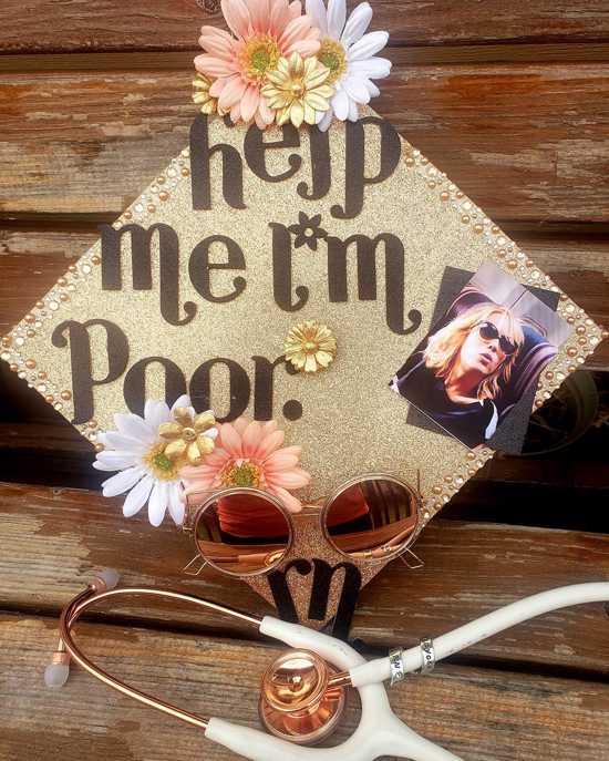 funny help me i'm poor RN grad cap decoration