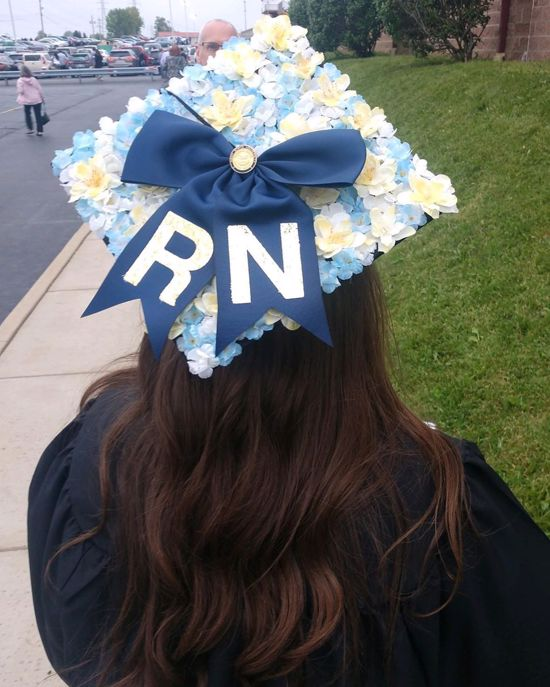 floral white and blue RN graduation hat