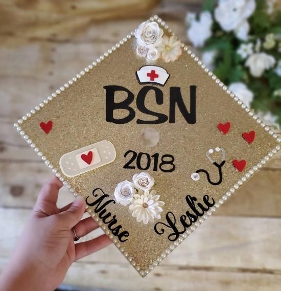 gold glitter BSN nurse graduation cap decoration with stickers