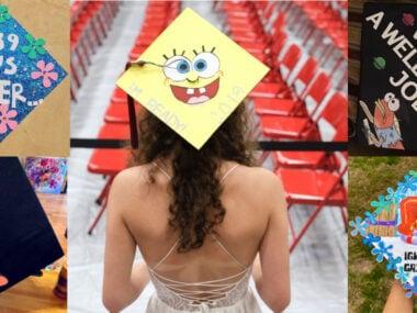 graduation caps decorated with funny Spongebob Squarepants quotes