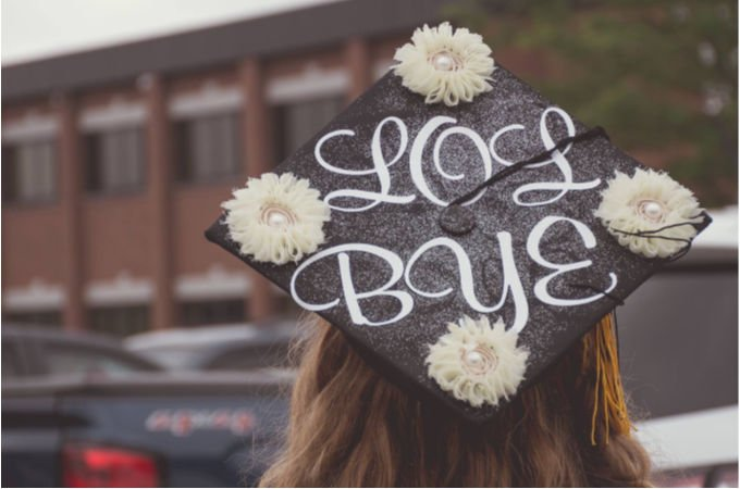 "simple grad cap decoration that says ""LOL BYE"""