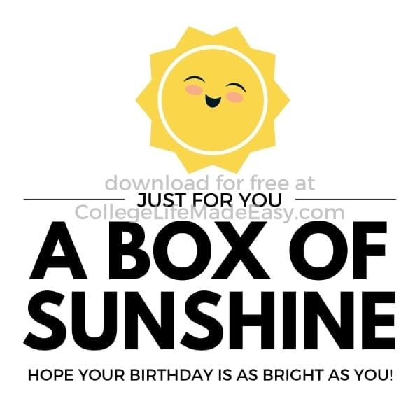 box of sunshine printable example