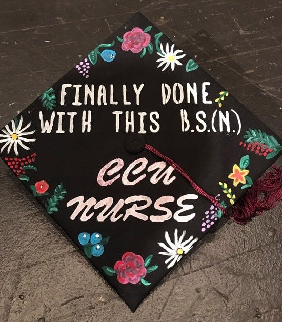 """graduation cap decorated with painted on flowers and words that say, """"finally done with this B.S.(N.) - CCU nurse"""""""