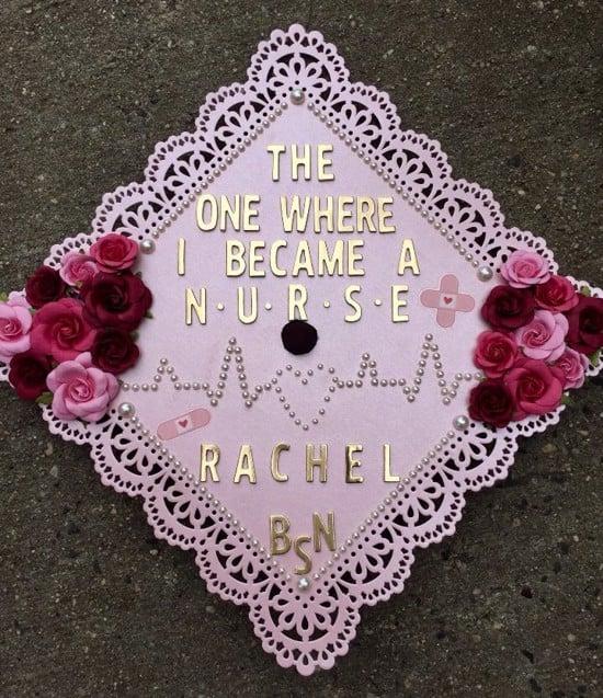 "light purple grad cap topper that says, ""the one where I became a nurse. Rachel BSN"""