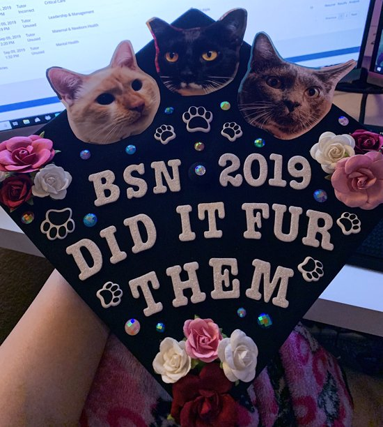 """BSN grad cap topper with flowers, pictures of cats and a caption that says, """"did it fur them"""""""