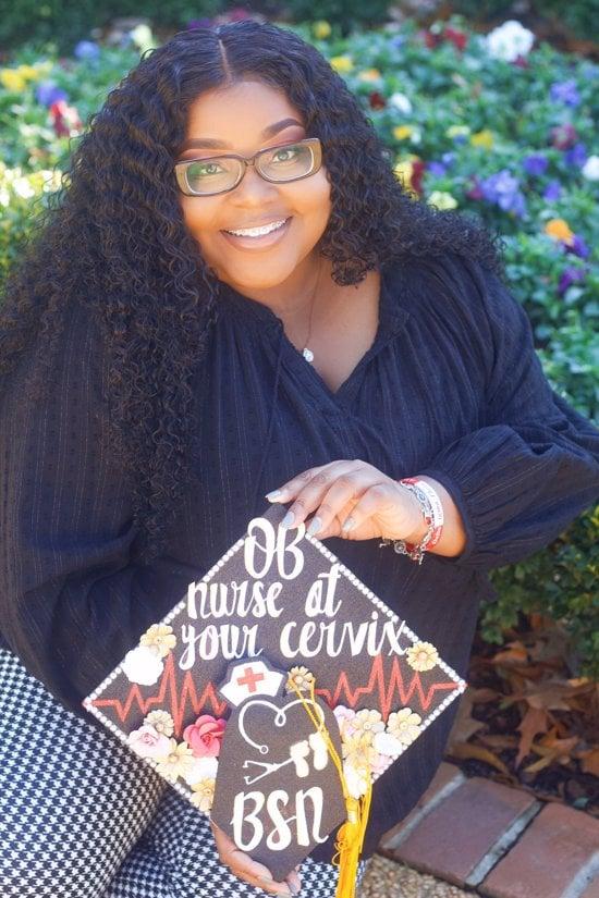 OB nurse at your cervix graduation cap with happy grad