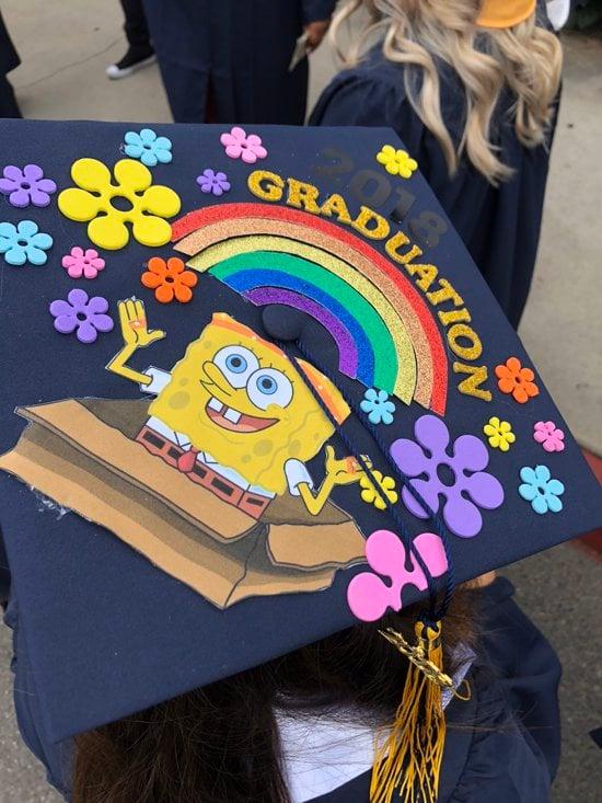graduation rainbow spongebob squarepants grad cap decoration