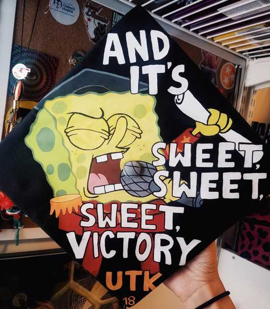 spongebob singing and it's sweet, sweet, sweet victory on graduation cap
