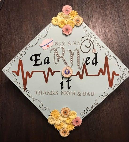 "nursing school graduation cap decoration that reads, ""BSN & BA - eaRned it - thanks mom & dad"""