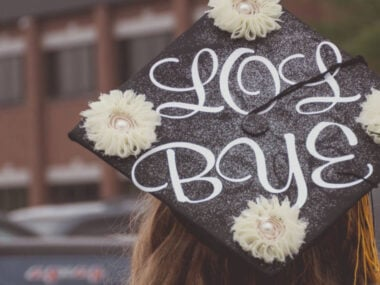 college graduate's decorated graduation hat
