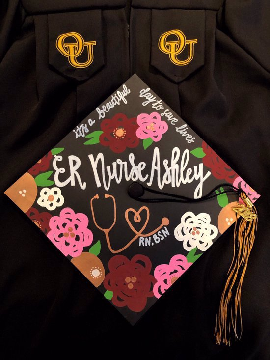 """""""ER nurse, it's a beautiful day to save lives"""" decorated graduation topper"""