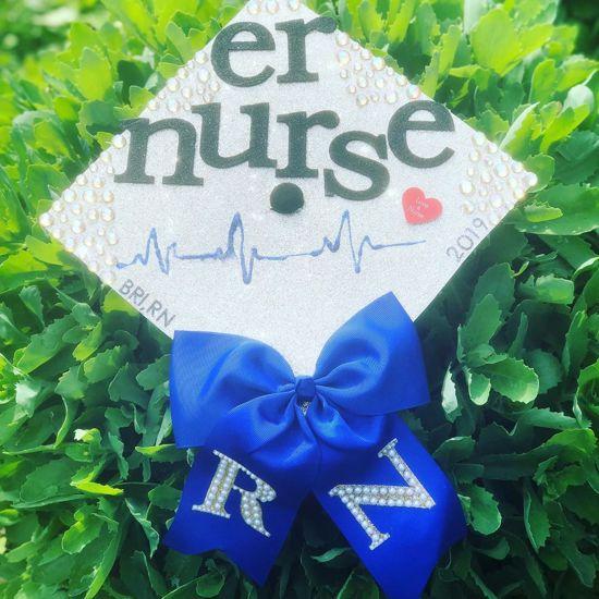silver and blue er nurse cap decoration