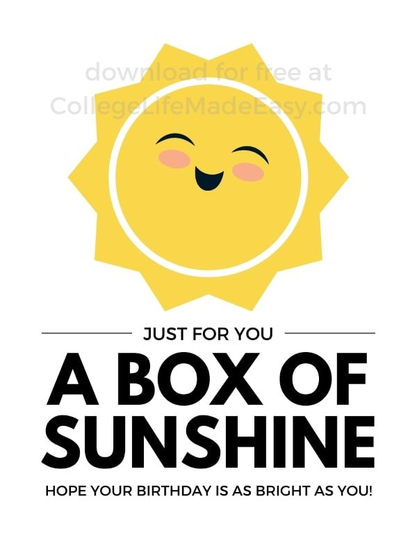 a box of sunshine for your birthday printable example