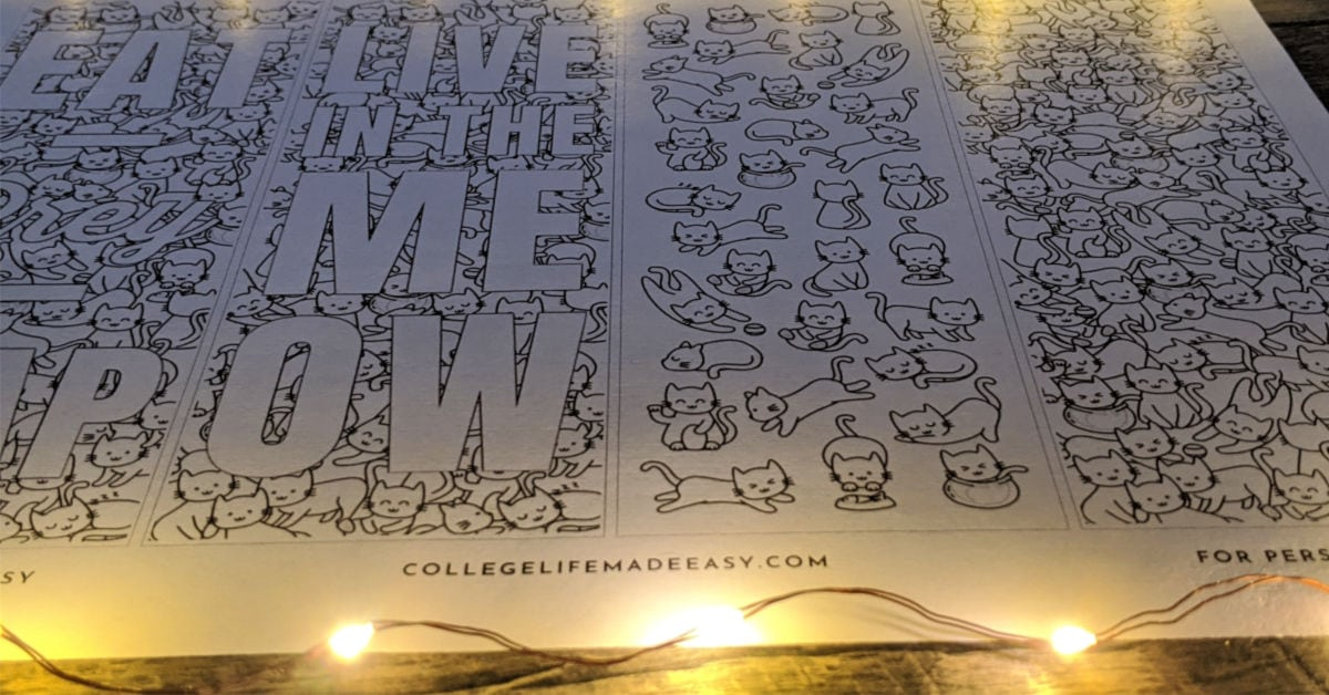 cat and cat puns printable coloring bookmarks with fairy lights