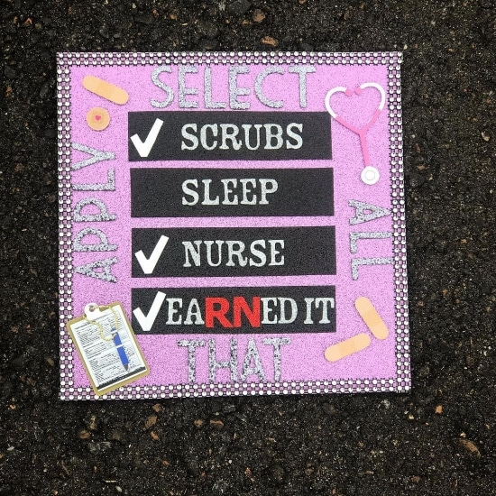 pink bedazzled nursing grad cap decoration