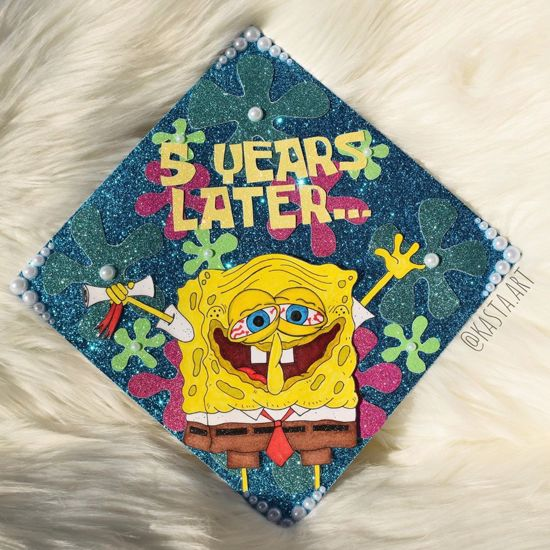 5 years later spongebob inspired grad cap decoration