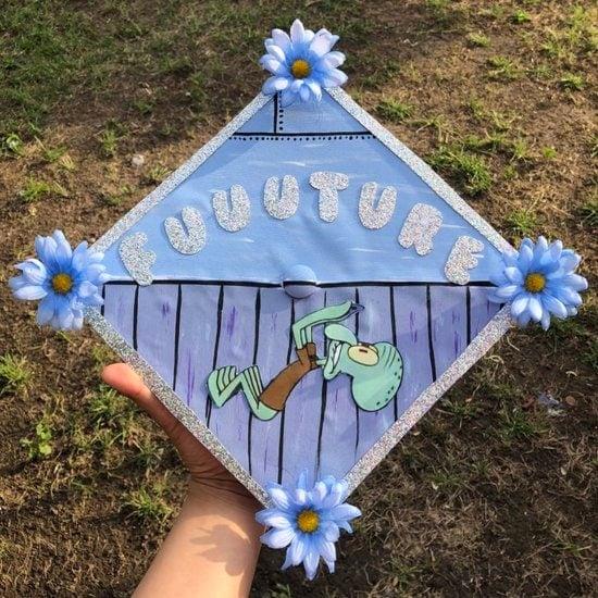 """squidward saying """"fuuuture"""" graduation cap decoration idea"""