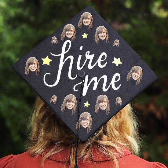 hire me funny graduation cap idea