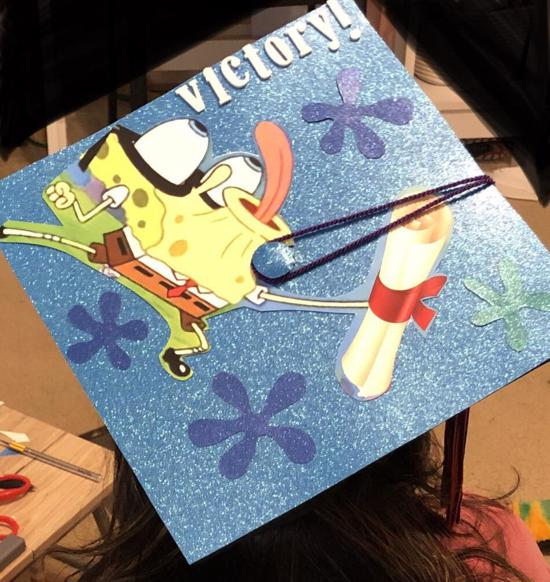 spongebob tongue out pose - victory! graduation hat