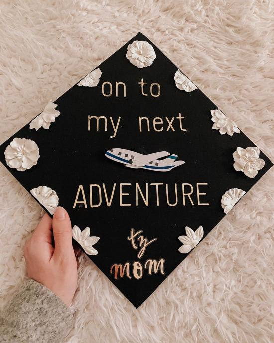 on to my next adventure grad cap decoration
