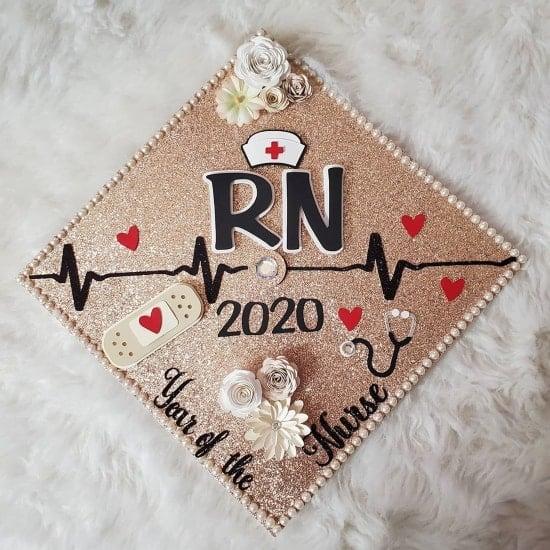 "RN 2020 decorated graduation cap ""year of the nurse"""