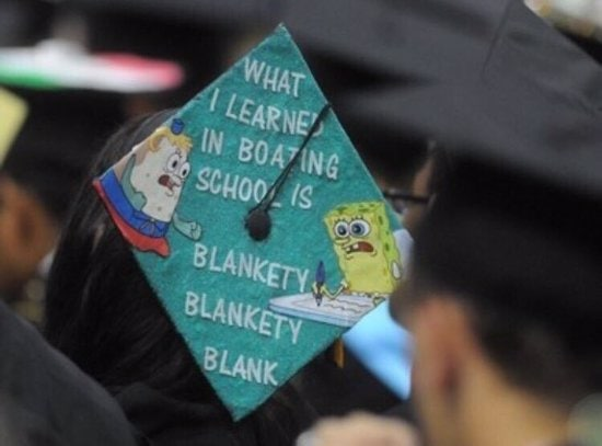 what i learned in boating school is grad cap reference to spongebob