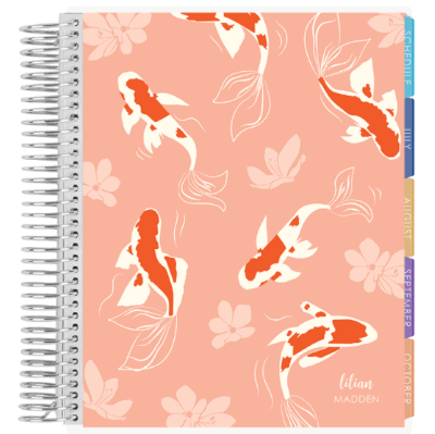 academic planner with pink cover, koi fish, and flowers