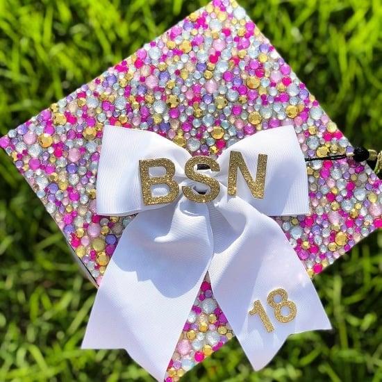 jewel decorated BSN nurse grad cap example