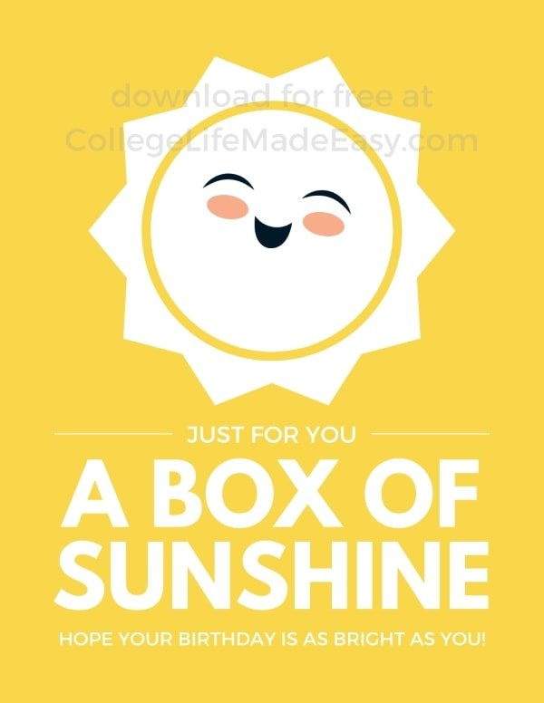 example of a box of sunshine to brighten your day printable free