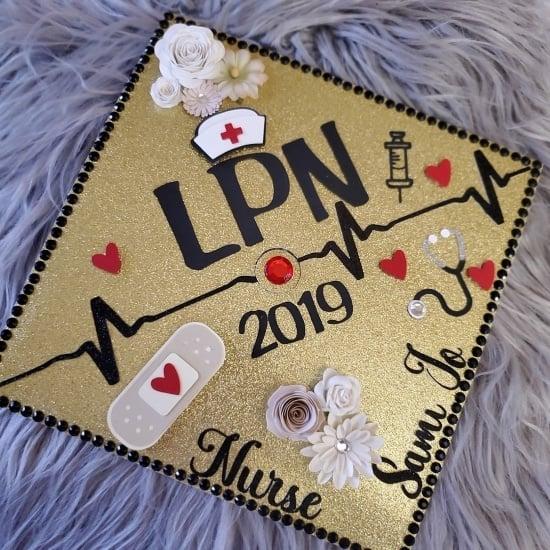 gold glitter LPN grad cap