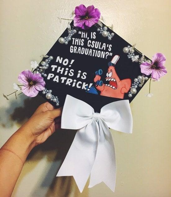 example of funny spongebob themed graduation cap idea