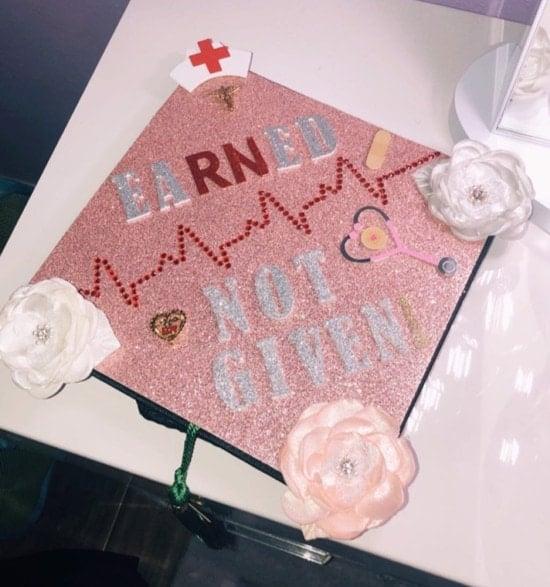 pink sparkle decorated nurse RN graduation cap topper