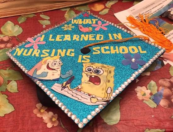 what i learned in nursing school is spongebob grad cap idea