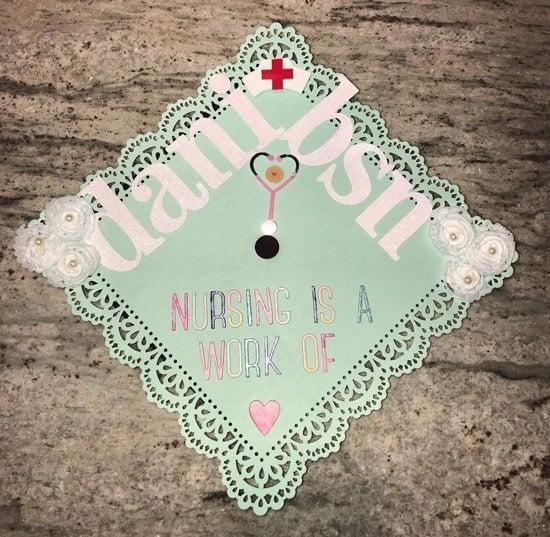 "BSN ""nursing is a work of heart"" grad cap design idea"